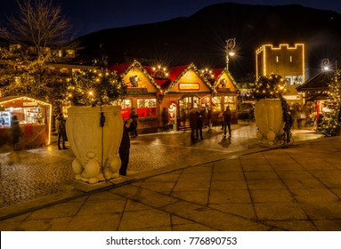 MERANO, South Tyrol, Italy - December 16, 2016 : Meran Merano in South Tyrol, Italy, during the Christmas with christmans market by night . Beautiful light and great atmosphere
