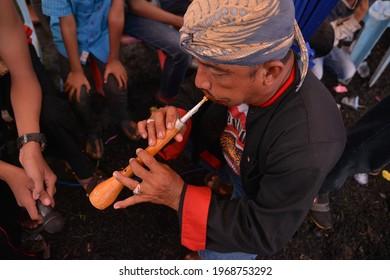 Meranti Riau, Indonesia - December 12, 2018:Flute players accompany the music of reog dancers in the city of Meranti, Indonesia