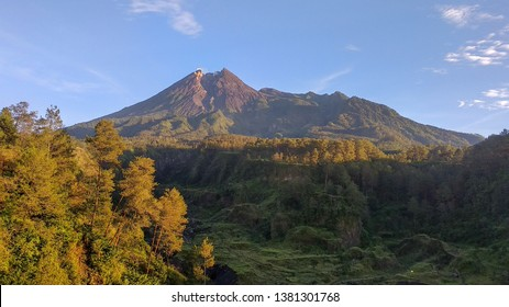 Merapi scenery from Balerante Yogyakarta. Merapi is an active mountain with a vigilant status, though Merapi is a favorite tourist destination in this city
