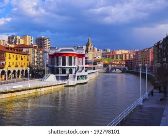 Mercado de la Ribera - Riverside Market and the Nervion River in Bilbao, Biscay, Basque Country, Spain
