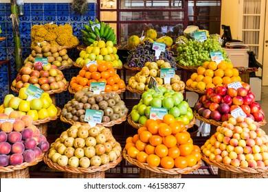 Mercado dos Lavradores, scene in Portugal, Funchal, island of Madeira