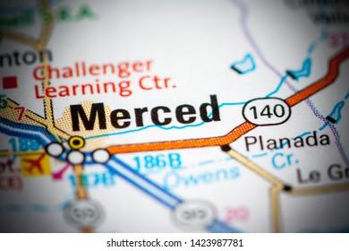 Merced. California. USA on a map