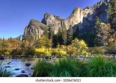 Merced River Meadow in front of El Capitan in Yosemite National Park at Sunset