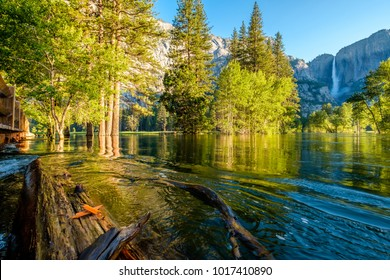 Merced River and Yosemite Falls landscape in Yosemite National Park. California, USA.