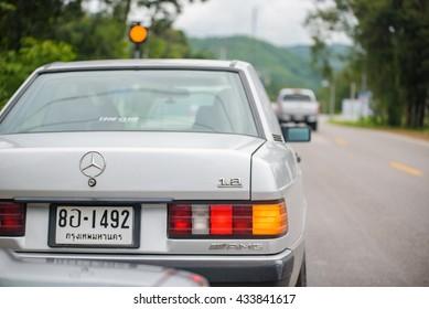 Mercedes Benz 190E rally to hua hin on May 29, 2016 in Prachuap Khiri Khan , Thailand.