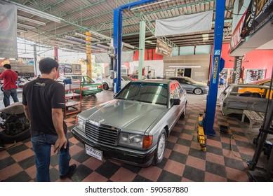Mercedes Benz car repair in Bangkok, Thailand. 5  March 2017