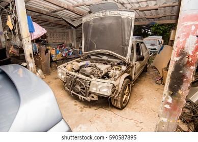 Mercedes Benz car repair in Nakhon Pathom, Thailand. 5 March 2017