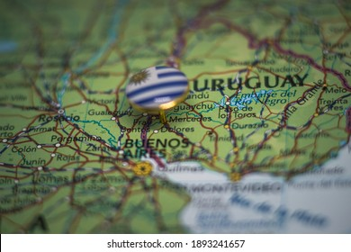 Mercedes pinned on a map with the flag of Uruguay