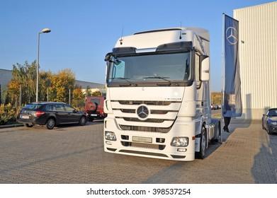 Mercedes Trucks at Transemex 's park at October 14, 2013 in Dunaharaszti, Hungary