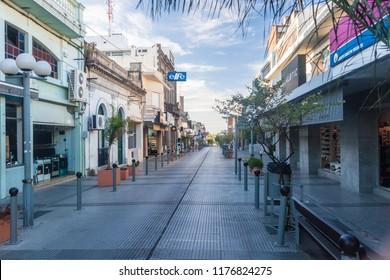 MERCEDES, URUGUAY: FEB 17, 2015: Street in Mercedes, Uruguay