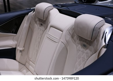 Mercedez Benz S560 Cabriolet car in a silver color and white leather interior. Photographed in Geneva International Motorshow (GIMS) 2019. Closeup of the interior of the luxurious S-series premium car