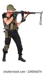 mercenary with RPG gun isolated on white