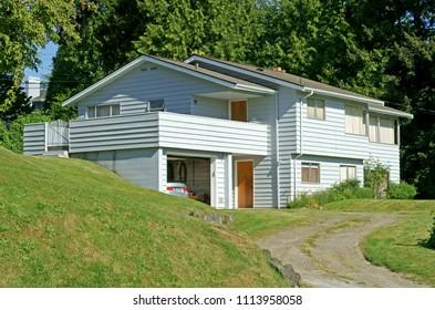 Mercer Island, Washington, United States. Two-storey house with garage