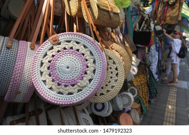 Merchandise for sale in in Ubud Market in Bali Island Indonesia. Ubud located in the uplands of Bali, Indonesia, is known as a culture center for traditional food, art and crafts