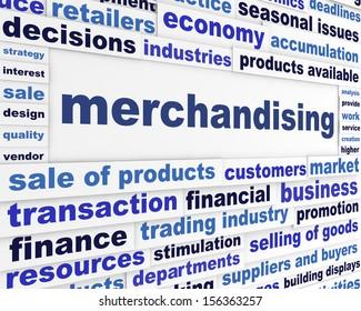 Merchandising business message. Business words conceptual design