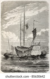 Merchant junk stern view, old illustration. Created by Gaildrau, published on L'Illustration, Journal Universel, Paris, 1860