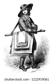 The Merchant of maps, vintage engraved illustration. Magasin Pittoresque 1841.