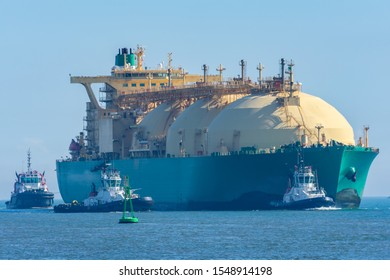 Merchant ship for gas transportation entering port
