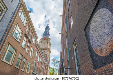Merchants houses and church tower in Amsterdam