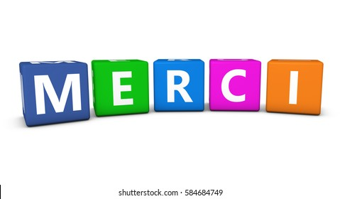 Merci word and sign on colorful cubes isolated on white background 3D illustration.