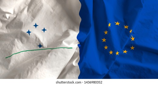 Mercosur and European Union agreement flag