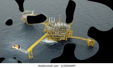 Mercury effect concept: business investment offshore rig