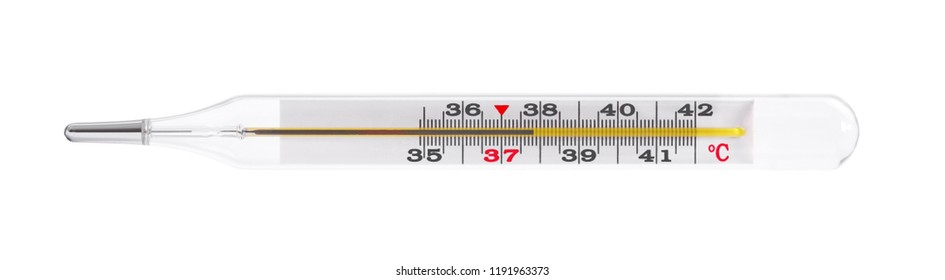 Mercury thermometer on a white background, isolated