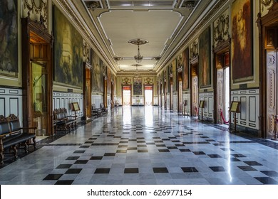 MERDIA, YUCATAN MEXICO – APRIL 15, 2017: INNER HALL OF THE OLD MERIDA CITY MUSEUM