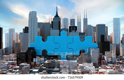 merger and acquisition business concepts, join company on puzzle pieces, 3d rendering