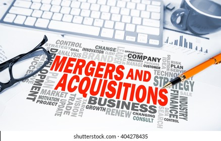 mergers and acquisitions word cloud on office scene