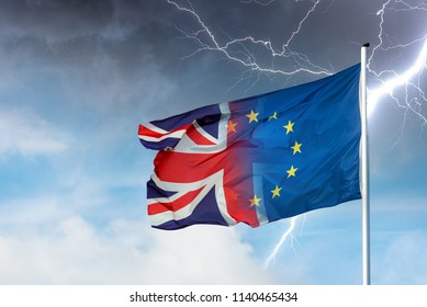 Merging european and british flag with lightning bolt in front of dark clouds in sky as a symbol for the Brexit