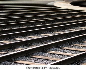 Merging railroad tracks
