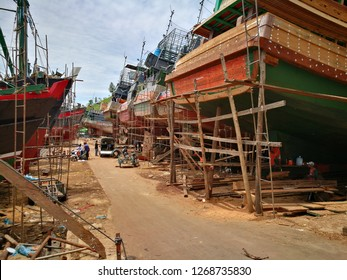Mergui, Myanmar - May 27 2018: Shipyard in Mergui, Myanmar. This shipyard consider as great shipyard in Southeast Asia where some of the largest and finest boats sailing on the Mergui.