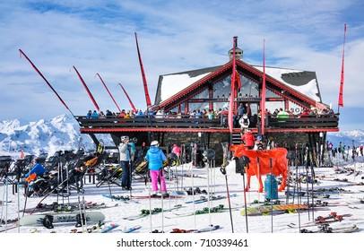 MERIBEL, FRANCE - JANUARY 24, 2017 : Outdoor restaurant on the slope to winter ski resort Meribel, France.