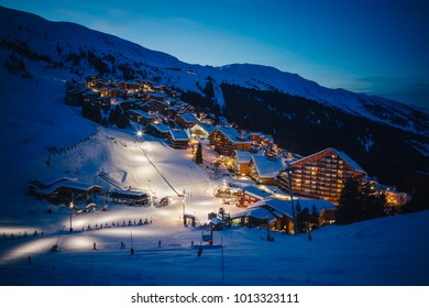 MERIBEL - MOTTARET, FRANCE - JANUARY 24, 2018:  the slopes of ski resort Meribel - Mottaret, part of Les 3 vallees in the evening.