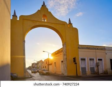 Merida Arch and Quarter of Dragons dragones in Yucatan Mexico
