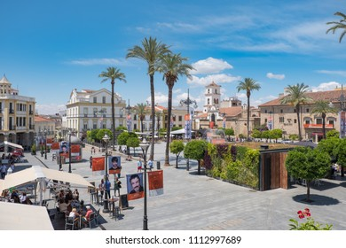 Merida, Badajoz, Extremadura, Spain. 02 dic 2018. View from above of the Spanish Square with the decoration of its famous classical theater festival