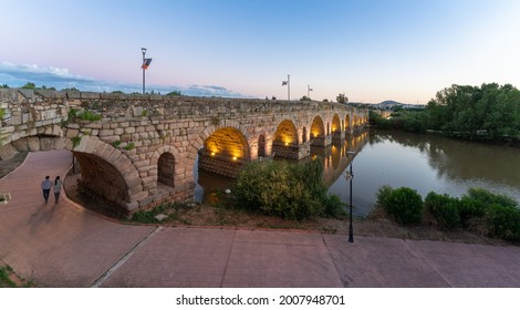 Merida, Badajoz, Extremadura, Spain. jun 20th 2020. View of the Roman Bridge with the decoration of its famous classical theater festival