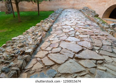 MERIDA, BADAJOZ, SPAIN - NOVEMBER 23, 2018:  Merida National Roman Art Museum. Roman road