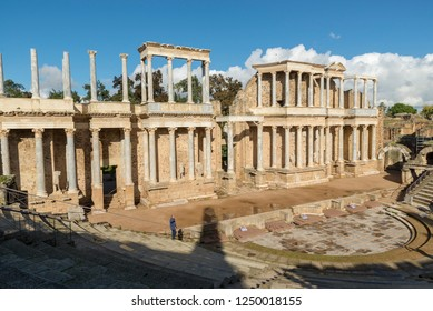 MERIDA, BADAJOZ, SPAIN - NOVEMBER 23, 2018: The Roman Theatre of Merida is a construction promoted by the consul Vipsanius Agrippa in the Roman city of Emerita Augusta, capital of Lusitania.