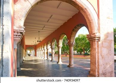Merida city arcade arcs of Yucatan in Mexico