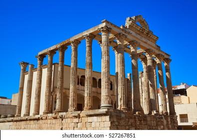 Merida Diana Temple in Badajoz Extremadura of Spain image shot from the exterior public floor
