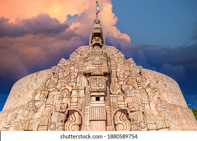 Merida, an iconic Homeland Monument Monumento a la Patria located at the runabout of Paseo de Montejo.