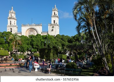 MERIDA, MEXICO - DECEMBER 30 2016: Plaza Grande in Merida is one of the nicest plazas in Mexico, surrounded by the town's oldest buildings, including the 16th century cathedral.