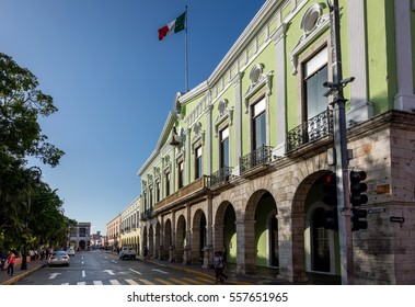 MERIDA, MEXICO - DECEMBER 30 2016: The Government Palace in Merida, a typical Spanish colonial-era building, inaugurated in 1892, a popular tourist destination.