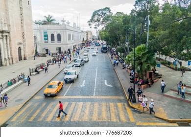 MERIDA, MEXICO - FEB 27, 2016: Aerial view of a traffic at Plaza Grande square in Merida, Mexico.