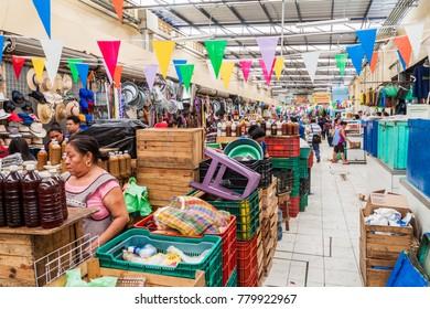 MERIDA, MEXICO - FEB 27, 2016: Interior of Mercado Municipal Lucas de Galvez market in Merida, Mexico