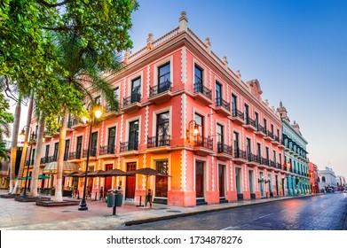 Merida, Mexiko. Hispanische koloniale Architektur, Yucatan Halbinsel in Mittelamerika.