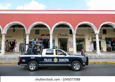 MERIDA, MEXICO - march 11, 2012: Police patrol on a street in the center of  Merida, Yucatan, Mexico