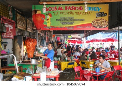 MERIDA, MEXICO - march 11, 2012: Fast food cuisine on a local market  in Merida, Yucatan, Mexico